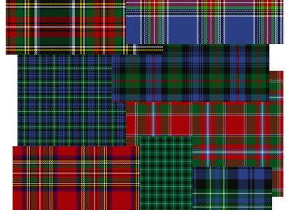 Plusieurs types de motifs écossais
